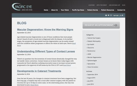 Screenshot of Blog paceyemd.com - Pacific Eye | Our Eye Care and Vision Health Blog - captured Oct. 1, 2014