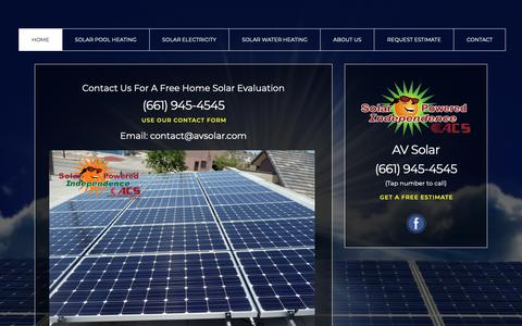 Screenshot of Contact Page avsolar.com - Solar Powered Independence by ACS - captured Oct. 3, 2018
