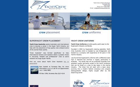 Screenshot of Home Page yachtcrewaustralia.com - Yacht Crew Australia - captured Sept. 30, 2014