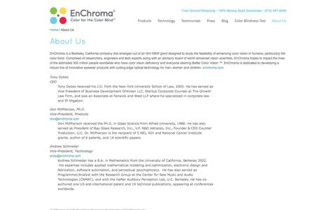 Screenshot of About Page enchroma.com - About Us | EnChroma - captured Sept. 16, 2014