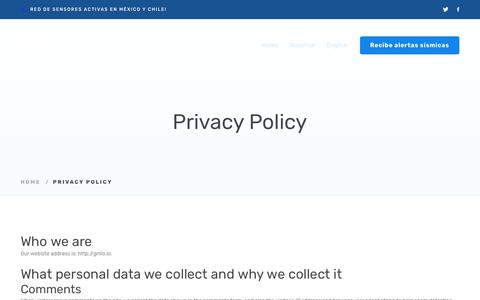 Screenshot of Privacy Page FAQ Page grillo.io - Privacy Policy – Grillo - captured July 4, 2018
