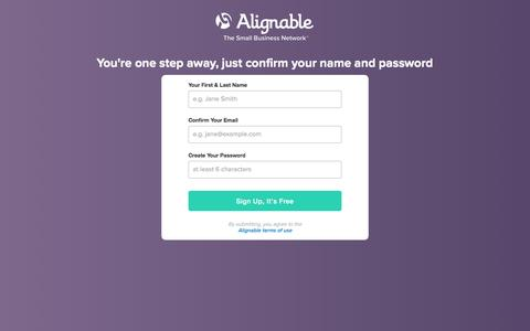 Screenshot of Signup Page alignable.com - Join Alignable - captured May 16, 2017