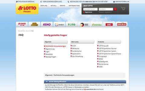 Screenshot of FAQ Page lotto-hessen.de - FAQ | LOTTO-Hessen - captured Dec. 24, 2016