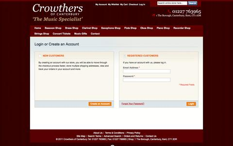 Screenshot of Login Page crowthersofcanterbury.co.uk - Customer Login - captured Oct. 28, 2014