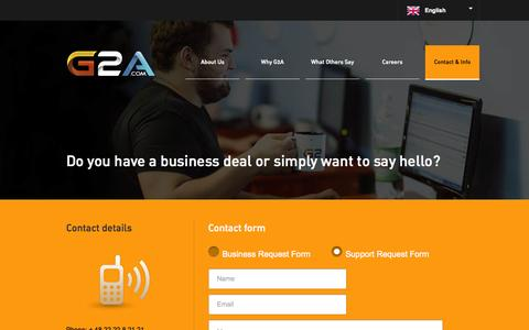 Screenshot of Contact Page g2a.co - G2A.COM Marketplace - captured Sept. 24, 2014