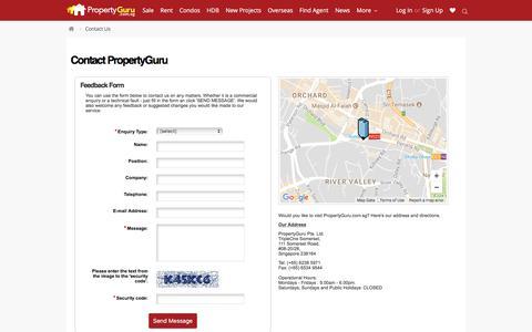 Screenshot of Contact Page propertyguru.com.sg - Contact Property Agent, Singapore Real Estate, Property Search   PropertyGuru - captured June 20, 2017