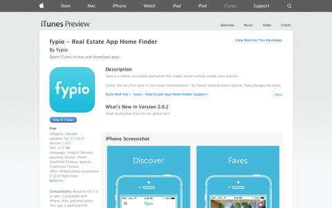 Screenshot of iOS App Page apple.com - fypio - Real Estate App Home Finder on the App Store on iTunes - captured Nov. 3, 2014