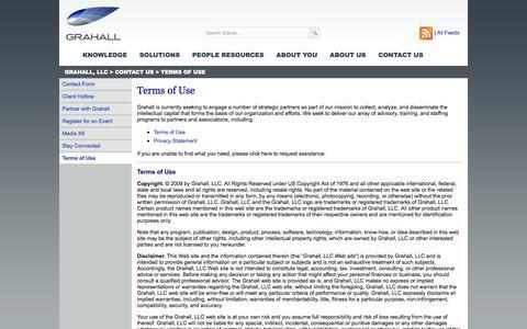Screenshot of Terms Page grahall.com - Terms of Use | Grahall, LLC - captured Oct. 3, 2014