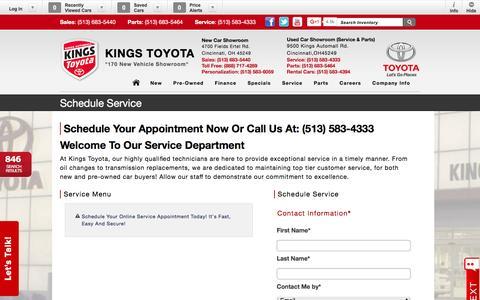 Screenshot of Menu Page kingstoyota.com - Kings Toyota | New Inventory for sale in Cincinnati, OH 45249 - captured Feb. 12, 2016