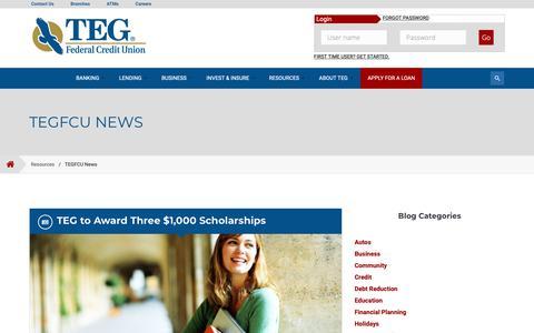 Screenshot of Press Page tegfcu.com - TEGFCU News | Poughkeepsie, Newburgh, NY: TEG Federal Credit Union - captured March 11, 2019