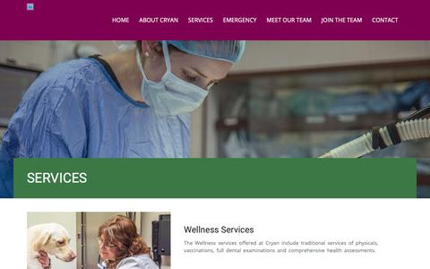 Screenshot of Services Page cryanvet.com - SERVICES | Cryan Veterinary Hospital - captured Sept. 30, 2018