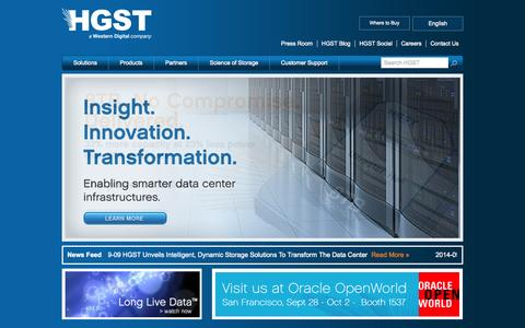 Screenshot of Home Page hgst.com - HGST Solutions | Hard Disk Drives, Solid State Drives & External Storage Products - captured Sept. 19, 2014