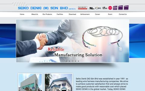 Screenshot of Home Page seikodenki.com.my - Wire Harness Malaysia, Johor Bahru (JB) Wire Harness Supply for Audio & Video, Environmental & Consumer Products ~ Seiko Denki (M) Sdn. Bhd - captured Nov. 17, 2016