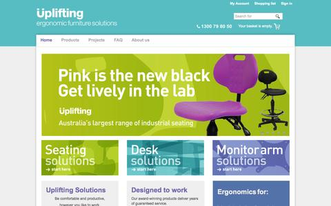 Screenshot of Products Page uplifting.com.au - Uplifting Solutions - ergonomic furniture solutions - captured Oct. 26, 2014