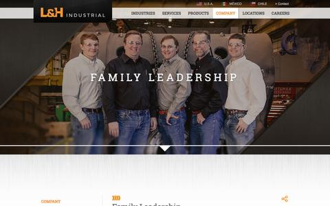 Screenshot of Team Page lnh.net - Family Leadership | L&H Industrial - captured Jan. 23, 2016