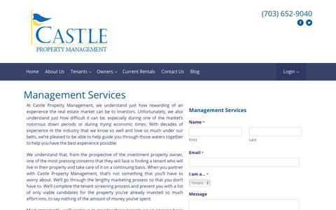 Screenshot of Services Page castlepm.com - Property Management Services - captured Sept. 27, 2018