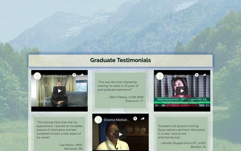 Screenshot of Testimonials Page divorcemediationtraining.com - divorce mediation training testimonials - captured Nov. 10, 2018