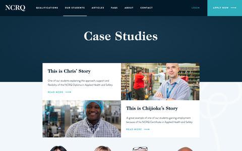 Screenshot of Case Studies Page ncrq.org.uk - Case Studies | NCRQ - captured Oct. 18, 2018