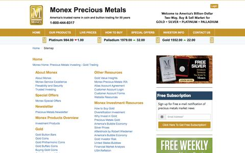 Screenshot of Site Map Page monex.com - Monex Sitemap | Precious Metals Investing | Gold Trading - captured Jan. 5, 2020