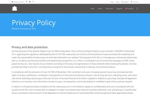 Screenshot of Privacy Page aisoy.com - Privacy Policy | Aisoy - captured Nov. 3, 2014