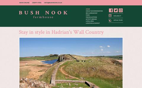 Screenshot of Home Page bushnook.co.uk - Bush Nook B&B Group Accommodation Hadrian's Wall - captured Dec. 19, 2018