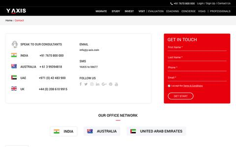 Screenshot of Contact Page y-axis.com - Contact - Immigration and Visa Consultants, India | Y-Axis Overseas Careers - captured Feb. 10, 2019