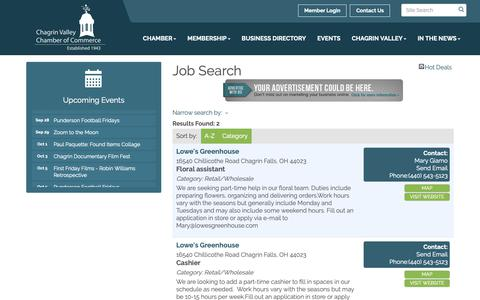 Screenshot of Jobs Page cvcc.org - Job Search - Chagrin Valley Chamber of Commerce, OH - captured Sept. 27, 2018