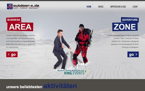 Screenshot of Home Page outdoor-x.de - Outdoor-X - Home - captured June 9, 2016