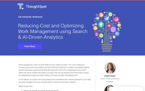 Screenshot of Landing Page thoughtspot.com - Reducing Cost and Optimizing Work Management | ThoughtSpot - captured May 2, 2019