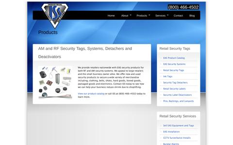 Screenshot of Products Page industrialsecuritysolutions.com - AM and RF EAS Security Products - captured Oct. 6, 2014