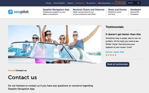 Screenshot of Contact Page seapilot.com - Contact us – Seapilot - captured Feb. 13, 2016