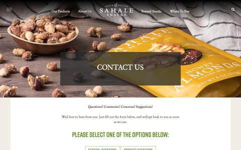 Screenshot of Contact Page sahalesnacks.com - Contact Us | Sahale Snacks® - captured Feb. 7, 2019