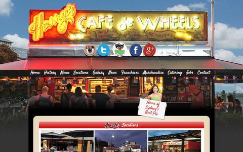 Screenshot of Locations Page harryscafedewheels.com.au - Locations Archive - Harry' s Cafe De Wheels - captured Nov. 4, 2018