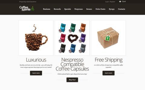 Screenshot of Home Page coffeemania.ie - Premium Coffee Capsules for Nespresso Machines | Coffee Mania Ireland - captured Jan. 27, 2018