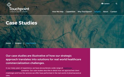 Screenshot of Case Studies Page touchpointsolutions.com - Studies of Our Pharma Sales and Marketing Strategies | Touchpoint - captured Sept. 19, 2017