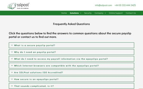 Screenshot of FAQ Page sslpost.com - Secure payslip portal - frequently asked questions - SSLPost - captured Nov. 5, 2018
