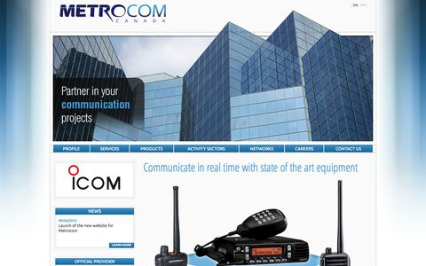 Screenshot of Home Page metro-com.com - Communicate in real time with state of the art equipment   Metro-com - captured Oct. 6, 2014