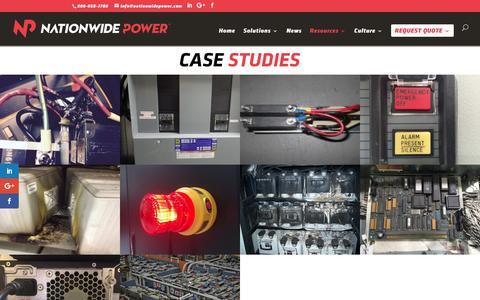 Screenshot of Case Studies Page nationwidepower.com - Case Studies - Nationwide Power - captured Dec. 3, 2016