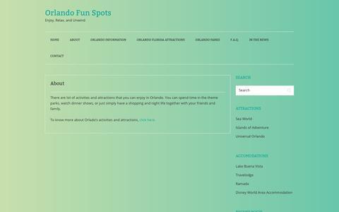 Screenshot of About Page orlandofunspots.com - About - Orlando Fun Spots - captured Nov. 15, 2018