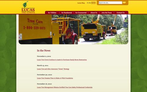 Screenshot of Press Page lucastree.com - In the NewsLucas Tree Experts | Lucas Tree Experts - captured Oct. 3, 2014