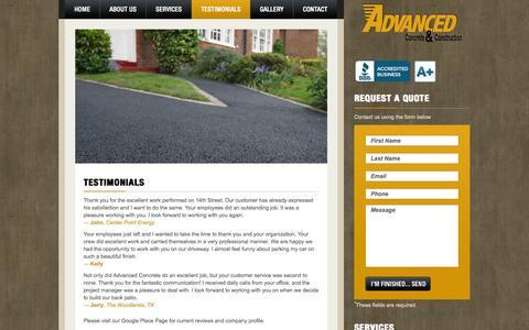 Screenshot of Testimonials Page advancedconcretehouston.com - Testimonials | Advanced Concrete & Construction Company - captured Oct. 4, 2014