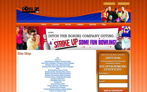 Screenshot of Site Map Page bowlingcolumbia.com - Site Map| Royal Z Lanes | Columbia, SC - captured Oct. 4, 2014