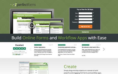 Screenshot of Landing Page perfectforms.com - Online Form Builder Software - PerfectForms - captured Sept. 30, 2016