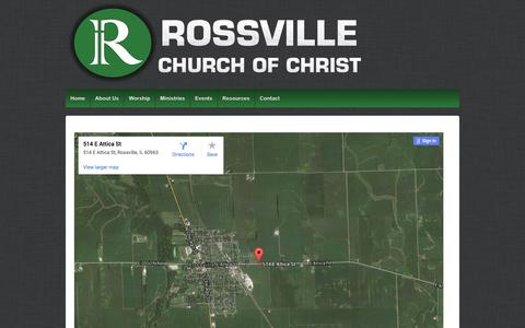 Screenshot of Maps & Directions Page rossvillecc.com - Directions | Rossville Church of Christ - captured Feb. 15, 2016