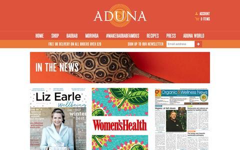 Screenshot of Press Page aduna.com captured Nov. 14, 2015