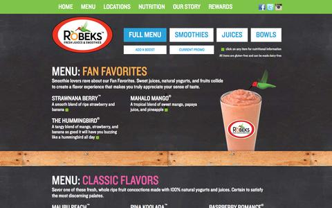 Screenshot of Menu Page robeks.com - Robeks | Menu - captured Sept. 30, 2014