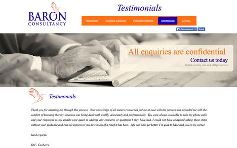 Screenshot of Testimonials Page baronconsultancy.com - Turnaround Management Solutions Baron Consultancy - Testimonials - captured July 28, 2016