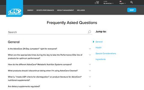 Screenshot of FAQ Page advocare.com - Science FAQs | AdvoCare - captured Nov. 4, 2019