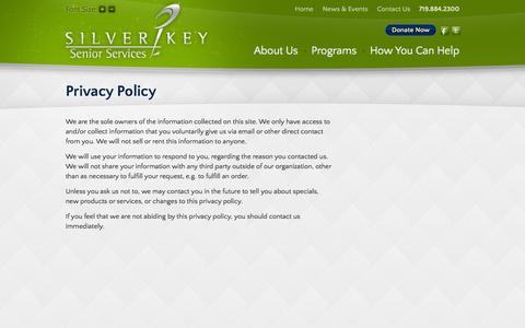 Screenshot of Privacy Page silverkey.org - Privacy Policy | Silver Key - captured Oct. 7, 2014