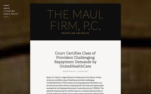 Screenshot of Press Page maulfirm.com - News — The Maul Firm, P.C. - captured Oct. 6, 2014